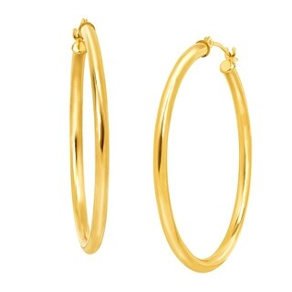 Just Gold 37 mm Polished Tube Hoop Earrings in 10K Gold - YELLOW