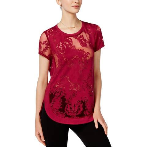 Bar Iii Womens Burnout Lace Embellished T-Shirt