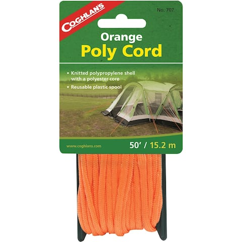 Coghlan's Orange Poly Cord, 50 feet of 1/4-inch Braided Nylon Cord - 50'