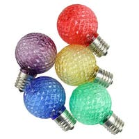 Pack of 25 Faceted LED G40 Multi-Colored Christmas Replacement Bulbs