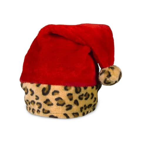 Merry Christmas Holiday Animal Leopard Red Santa Claus Hat Party Theme
