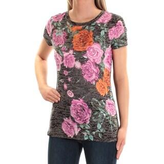 Womens Black Floral Short Sleeve Jewel Neck Top Size XXL