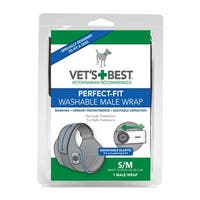 """Vet's Best Perfect-Fit Washable Male Wrap 1 pack Small / Medium Black 5.44"""" x 1.75"""" x 7.75"""""""