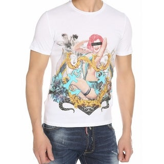Just Cavalli NEW White Mens Small S Pin Up Girl Graphic Tee T-Shirt