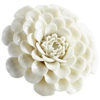 "Cyan Design 09106  Wall Flowers 1-1/4"" x 3-1/4"" Botanical Ceramic Wall Decor - Off White Glaze"
