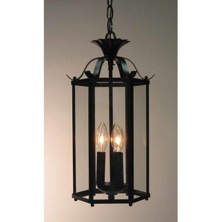 """Volume Lighting V5093 3 Light Foyer 16.25"""" Height Pendant with Clear Glass Speci (Option: Pewter Finish)"""