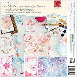"""Cosmo Cricket Single-Sided Paper Pad 8""""X8"""" 12/Pkg-Watercolor"""