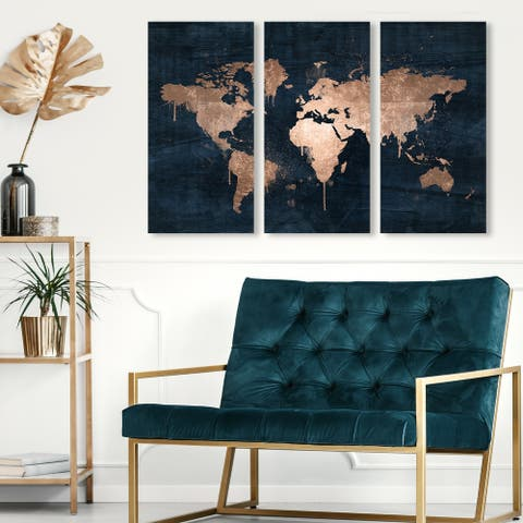Oliver Gal 'Mapamundi Copper Triptych' Maps and Flags Wall Art Canvas Print Set - Bronze, Black