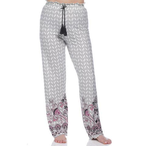 e6321111187d4a Body Touch Sleepwear Women's Border Print Brushed Poly Suede Lounge Pants -  Navy