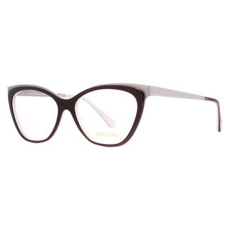 TOM FORD Cat eye TF 5374 Women's 050 Burgundy/Silver Clear Eyeglasses - 54mm-15mm-135mm