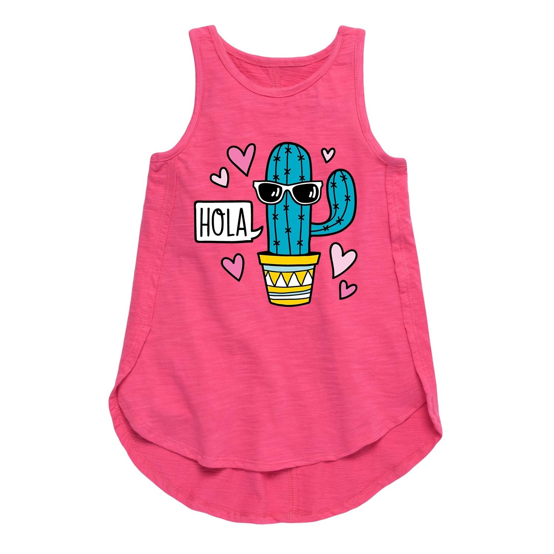 Hola Cactus with Sunglasses Toddler Girl Tulip Tunic