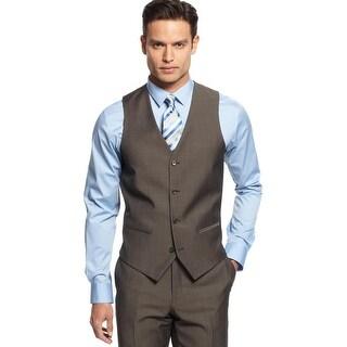 Alfani Slim Fit Vest Brown 38 Regular 38R Twill Wool Blend Red Label