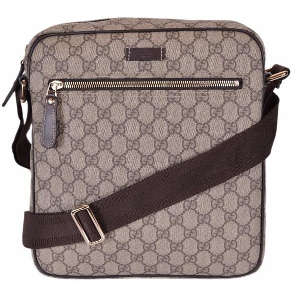 46d4dcd748d Gucci 201448 GG Supreme Canvas Guccissima Crossbody Messenger Bag Purse