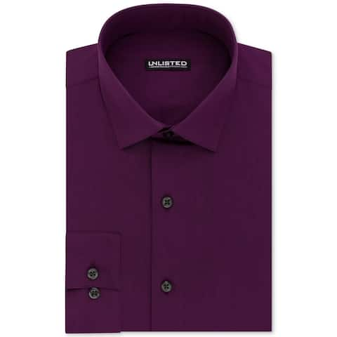 Unlisted by Kenneth Cole Mens Dress Shirt Purple Size Medium M Slim-Fit