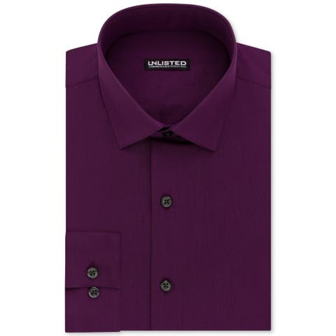 Unlisted by Kenneth Cole Mens Dress Shirt Purple Size XL Slim Fit