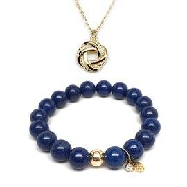 "Julieta Jewelry Set 10mm Blue Jade Emma 7"" Stretch Bracelet & 12mm Love Knot Charm 16"" 14k Over .925 SS Necklace"
