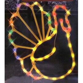 "17"" Lighted Thanksgiving Turkey Window Silhouette Decoration"
