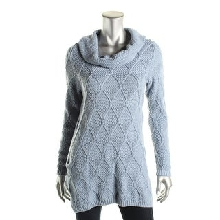 Jeanne Pierre Womens Cowl-Neck Cable-Knit Sweater