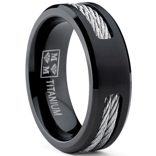 Oliveti Men's Black Titanium ring Wedding band with Stainless Steel Cables sizes 7 to 12. Opens flyout.