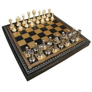 Staunton Metal Chess Set With Leather Chest - brown
