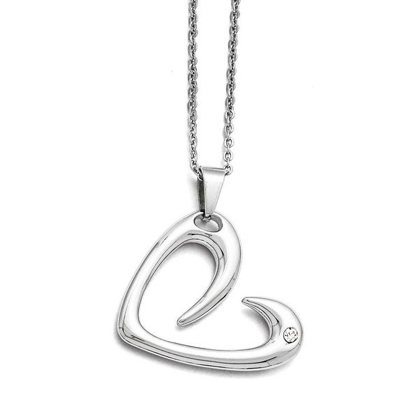 Chisel Stainless Steel Polished Heart with Crystal Necklace - 22 in