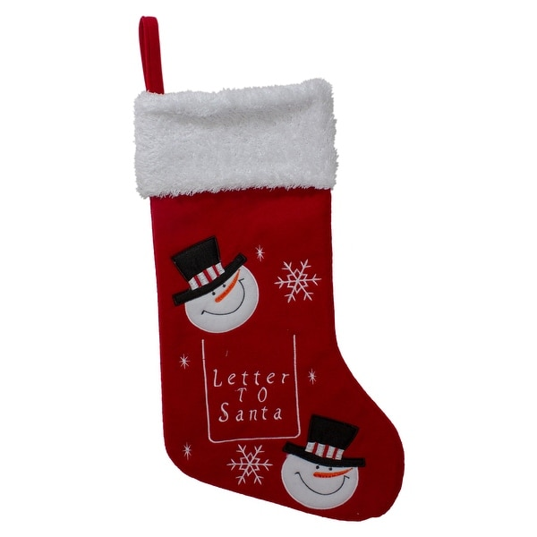 "19"" Red White Embroidered Snowmen Letter to Santa Christmas Stocking. Opens flyout."