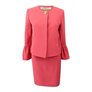 Tahari ASL Women's Petite Hardware-Button Skirt Suit (12P, Coral Reef) - Coral Reef - 12P