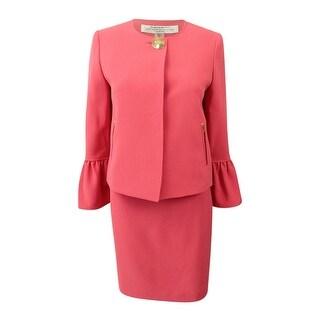 Tahari ASL Women's Petite Hardware-Button Skirt Suit (4P, Coral Reef) - Coral Reef - 4P