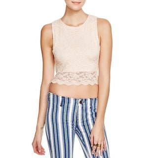 Free People Womens Crop Top Lace Overlay Keyhole