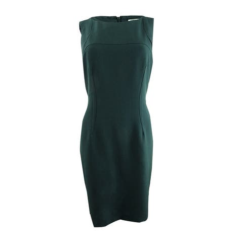 Kasper Women's Petite Stretch Crepe Sheath Dress - Fir Green