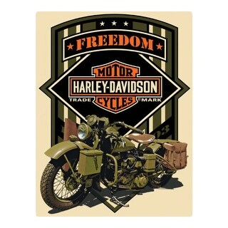 Harley-Davidson Freedom Green Military Embossed Tin Sign, 13 x 17 inches 2011351
