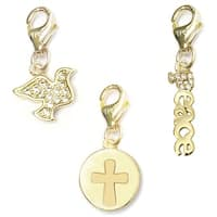 Julieta Jewelry Cross Disc, Dove, Peace 14k Gold Over Sterling Silver Clip-On Charm Set