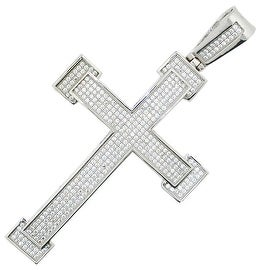 Sterling silver Cross Charm With CIced Out CZ Pave Set 65.5mm Tall Mens Cross Pendant Extra Large By MidwestJewellery