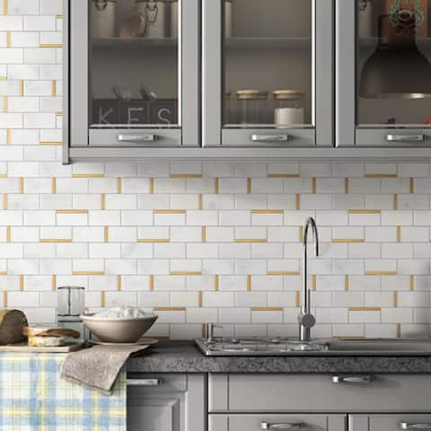 "TileGen. Natural Bianco 2"" x 4"" Subway Metal and Marble Mosaic Tile in Gold/White Wall Tile (10 sheets/9.7sqft.)"