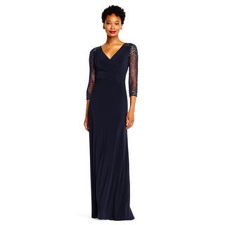Adrianna Papell Women's Jersey Gown with Sheer Beaded 3/4 Sleeves