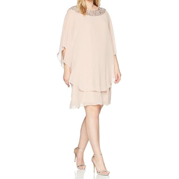 f3661a4efdb8d Shop Xscape Pink Womens Size 14W Plus Beaded Chiffon Overlay Shift ...