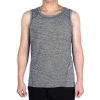 Men Polyester Sleeveless T-shirt Activewear Vest Exercise Sports Tank Top Gray L