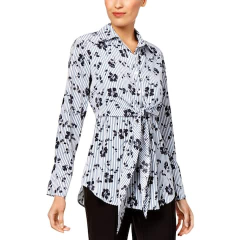 NY Collection Womens Button-Down Top Printed Tie-Front