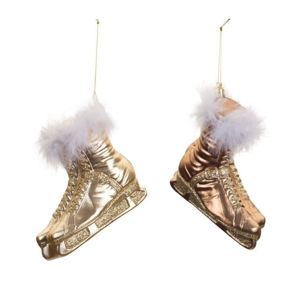 """Club Pack of 12 Champagne and Gold Glitter Ice Skate Christmas Ornaments with Feathers 5.5"""""""