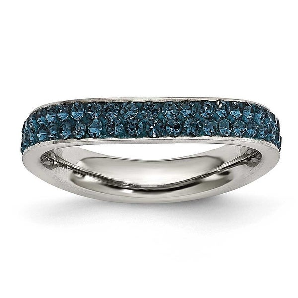 Chisel Stainless Steel 4mm Polished Blue Crystal Wavy Ring