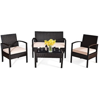 Link to Outdoor Wicker 4 Pieces Conversation Set PE Rattan Chairs and Table Similar Items in Outdoor Sofas, Chairs & Sectionals