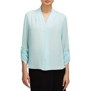 Elie Tahari Womens Ginny Blouse Silk Button Front