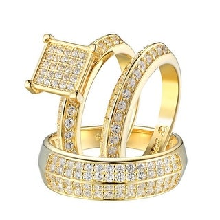 Sterling Silver Wedding Ring Band Trio Set Gold Tone Simulated Diamonds Square - Yellow