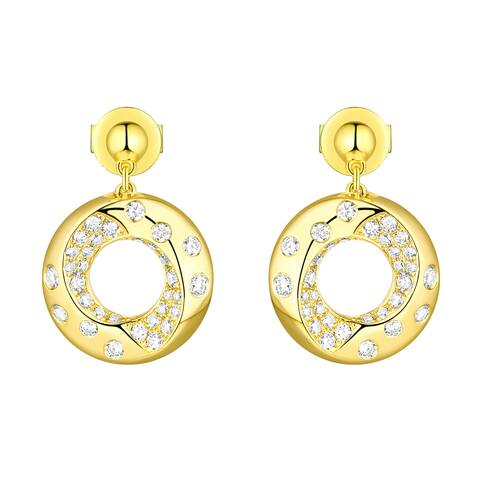 Vedantti 0.50Ct Round G-H/VVS1 Natural Diamond Open-Circle Polka Dots Everyday Wear Drop Earring