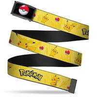 Poke Ball Fcg  Chrome Pikachu Poses W Pokemon Yellow Webbing Web Belt