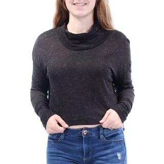 CHARTER CLUB Womens Black Glitter Long Sleeve Jewel Neck Crop Top Size: M
