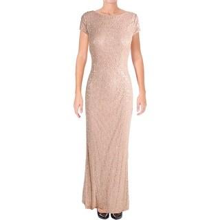 Vera Wang Womens Evening Dress Lace Sequined