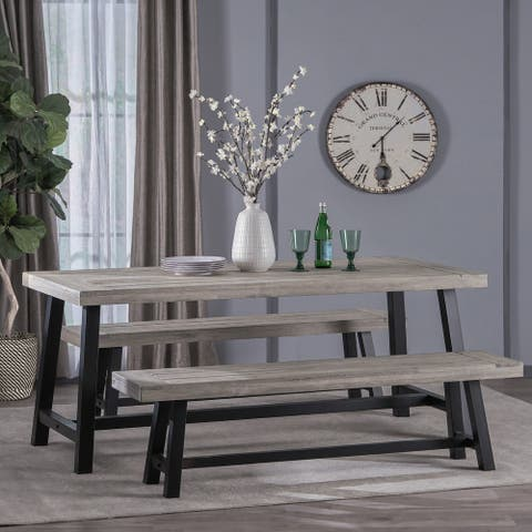 Jubilee Modern Industrial 3 Piece Acacia Wood Picnic Dining Set with Benches by Christopher Knight Home