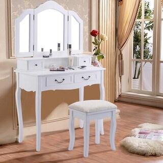 Exceptional Tri Folding Mirror White Wood Vanity Set Makeup Bathroom Table Dresser 4  Drawers + Stool