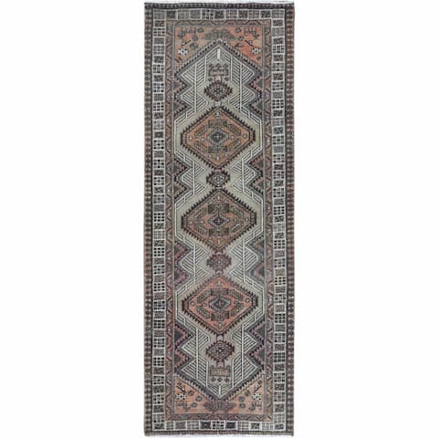 """Shahbanu Rugs Persian Serab Gray Clean Cropped Thin Bohemian Hand Knotted Old Beautiful Oriental Runner Rug (3'2"""" x 9'5"""")"""